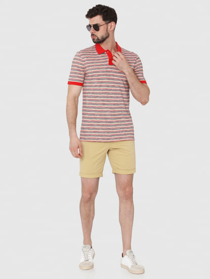 Red Striped Polo Neck T-Shirt