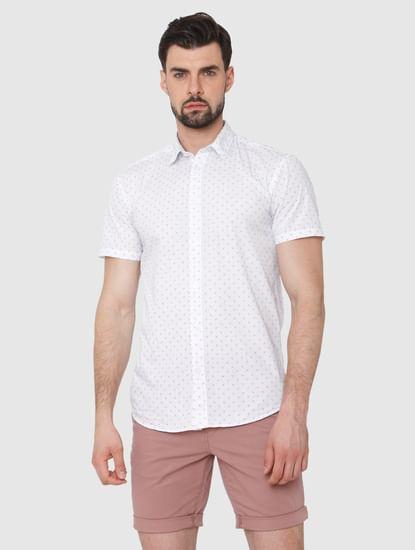 White Printed Short Sleeves Shirt