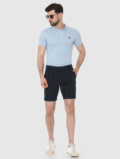Navy Blue Check Chino Shorts