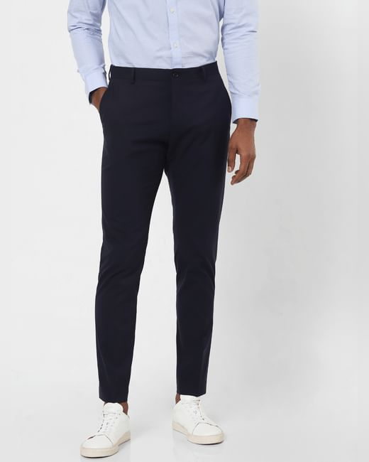 Navy Blue Mid Rise Slim Fit Trousers