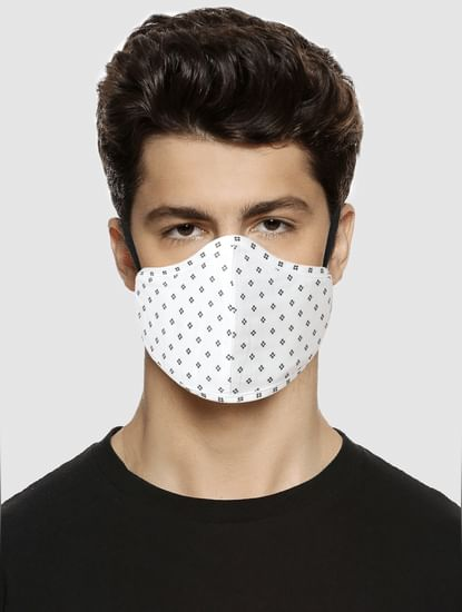 White Floral Print N95 Mask with 3 Changeable PM2.5 Filter