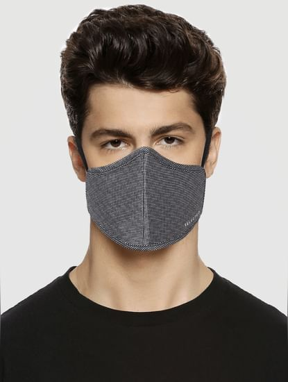 Grey Check Print N95 Mask with 3 Changeable PM2.5 Filter