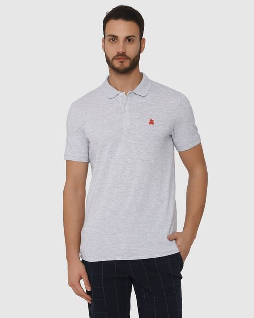 Grey Slim Fit Polo Neck T-Shirt