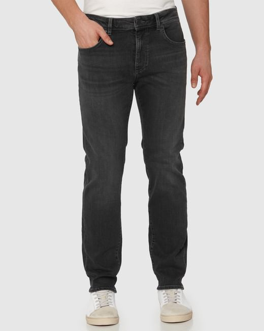 Black Mid Rise Faded Leon Slim Fit Jeans