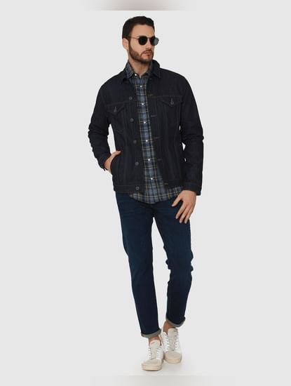 Dark Blue Mid Rise Scott Straight Fit Jeans