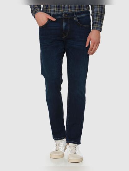 Dark Blue Mid Rise Scott Straight Fit Jeans
