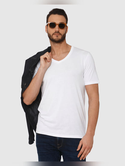 White Slim Fit V Neck T-Shirt