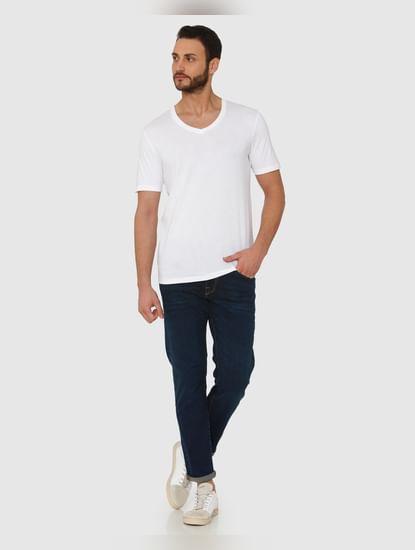 White Slim Fit V Neck T-Shirt