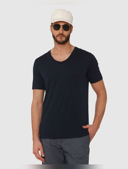 Dark Blue Slim Fit V Neck T-Shirt