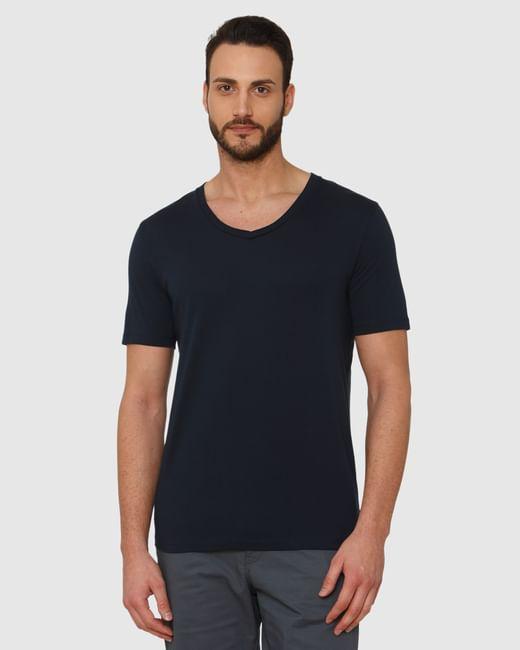 Dark Blue Slim Fit V Neck T-Shirt