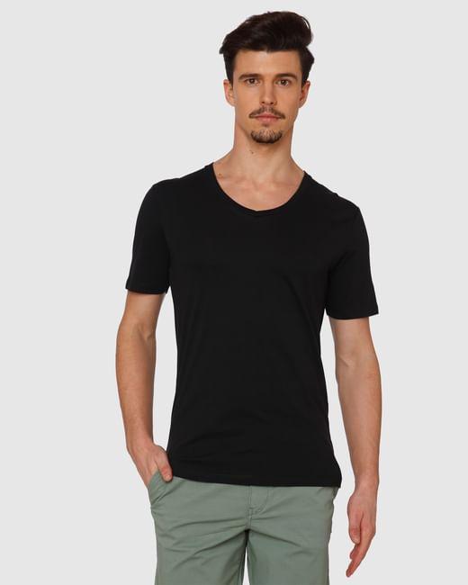 Black Slim Fit V Neck T-Shirt