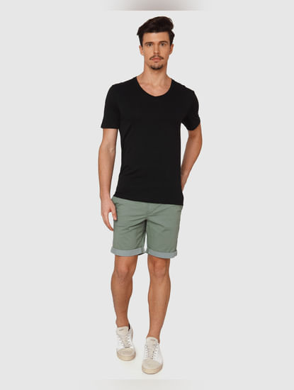 Black Slim Fit V Neck T-Shirt