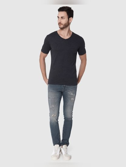 Dark Grey Slim Fit V Neck T-Shirt