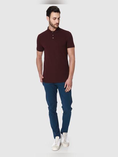 Burgundy Polo Neck T-Shirt