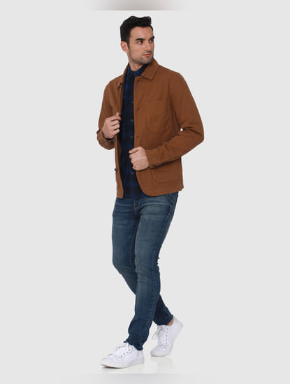 Brown Patch Pocket Casual Jacket