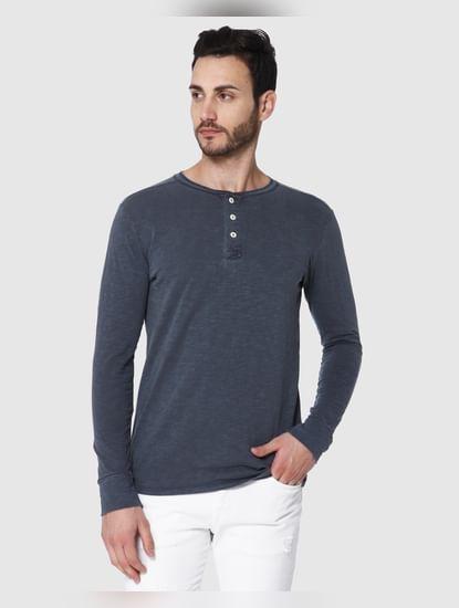 Blue Overdyed Henley T-Shirt