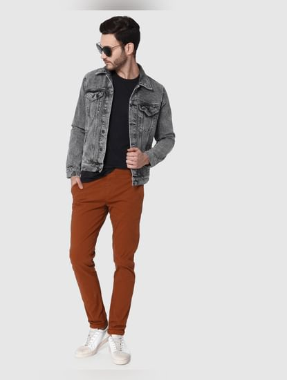 Brown Skinny Fit Pants