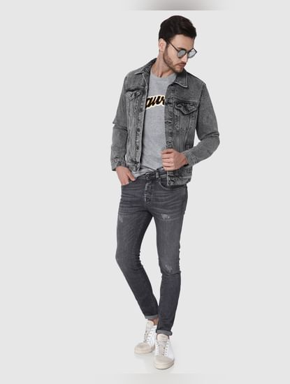 Black Washed Denim Jacket