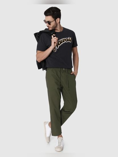 Green Drawstring Tapered Fit Pants