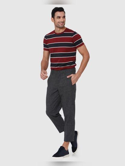 Dark Grey Printed Cropped Pants