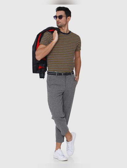 Light Grey Printed Cropped Pants