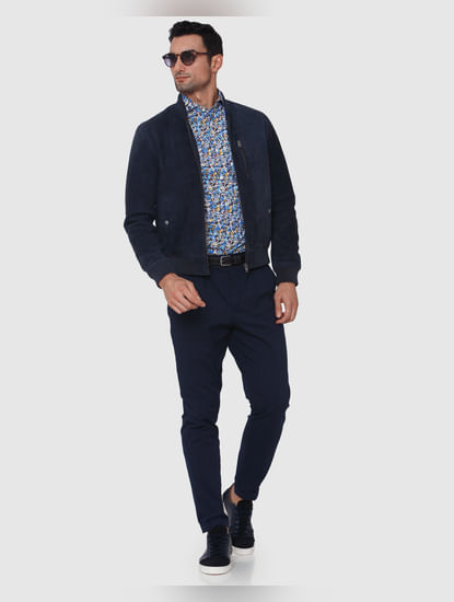 Navy Blue Tapered Fit Pants