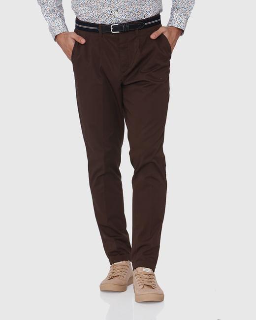 Dark Brown Tapered Fit Pants