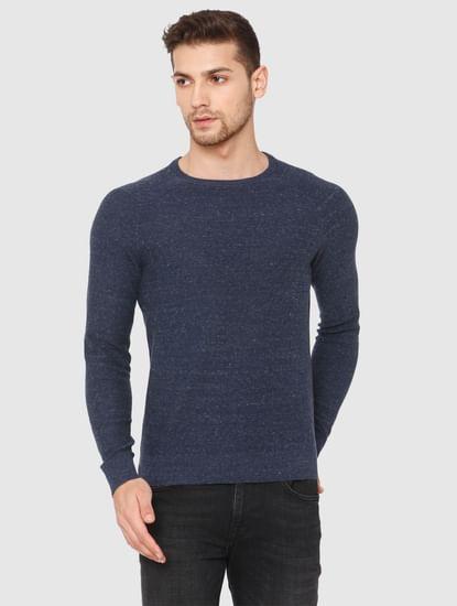 Blue Crew Neck Pullover