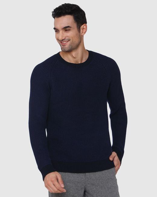 Blue Textured Crew Neck Pullover