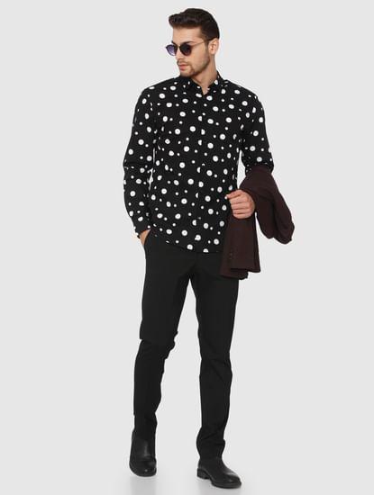 Black All Over Polka Dot Print Shirt