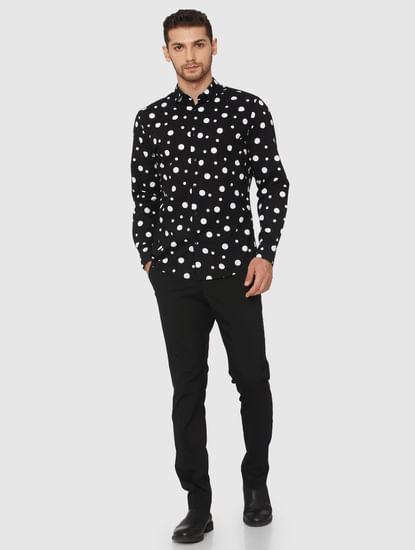 Black All Over Polka Dot Print Shirt