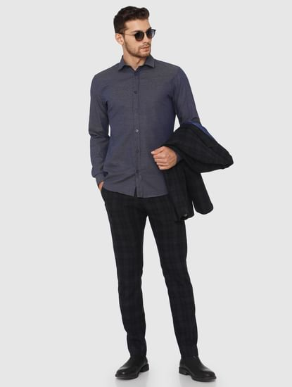 Navy Blue Slim Fit Formal Shirt