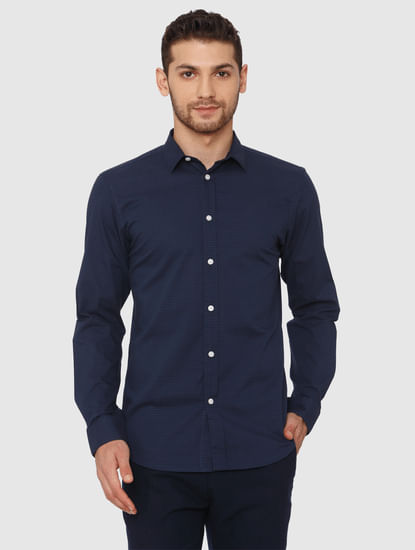 Navy Blue Slim Fit Formal Shirt