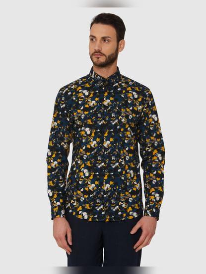 Black All Over Print Slim Fit Full Sleeves Shirt