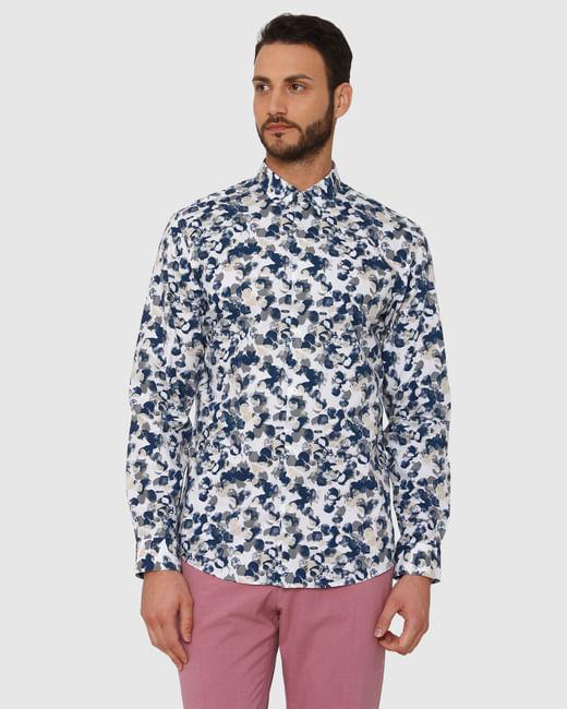 White All Over Print Slim Fit Full Sleeves Shirt