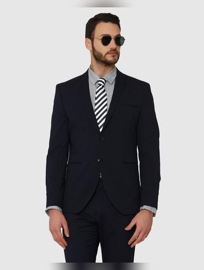 Blue Double Button Slim Fit Formal Blazer