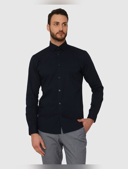 Navy Blue Slim Fit Full Sleeves Formal Shirt