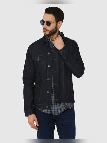Dark Blue Tartan Checks Slim Fit Full Sleeves Shirt
