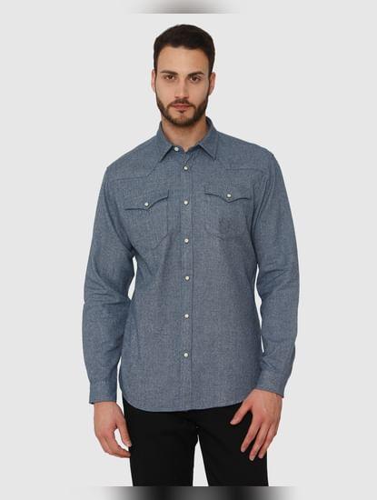Blue Curved Hem Slim Fit Full Sleeves Shirt