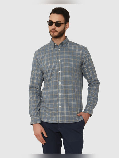 Blue Checks Curved Hem Full Sleeves Shirt