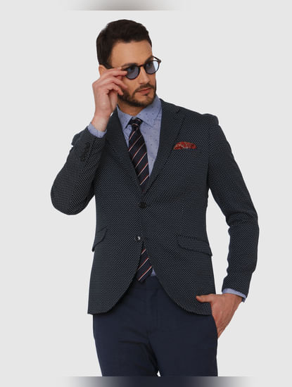 Navy Blue Dotted Double Button Slim Fit Blazer
