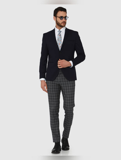 Grey Checks Slim Fit Formal Trousers