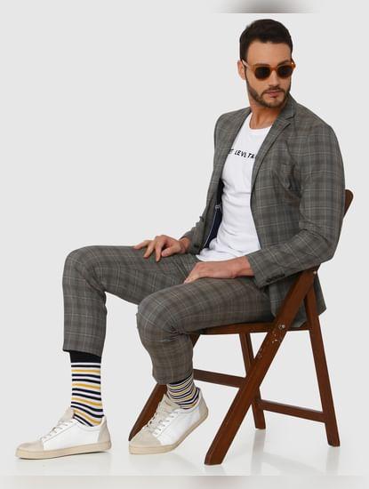 Grey Checks Double Button Slim Fit Blazer