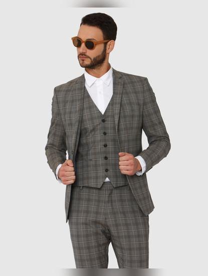 Grey Checks Slim Fit Waistcoat
