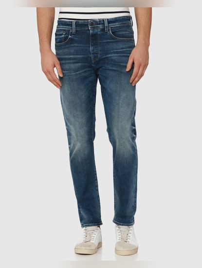 Blue Mid Rise Light Fade Toby Tapered Fit Jeans