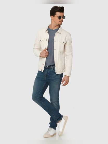 Blue Mid Rise Light Fade Leon Slim Fit Jeans