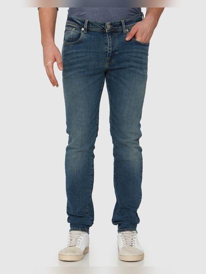 Blue Mid Rise Light Fade Leon Slim Fit Jeans