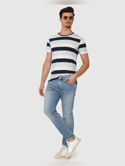 Light Blue Mid Rise Light Fade Leon Slim Fit Jeans