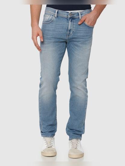 Light Blue Mid Rise Light Fade Leon Slim Fit Jeans