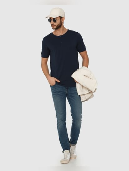 Navy Blue Henley Neck T-Shirt